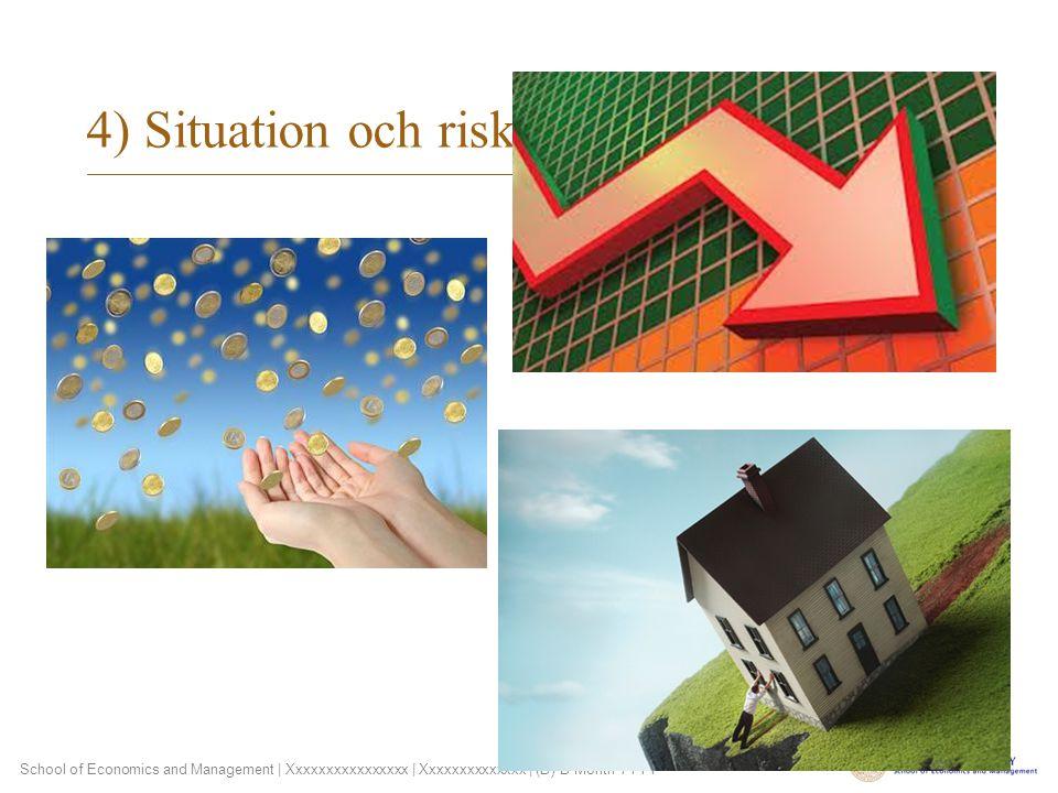 School of Economics and Management | Xxxxxxxxxxxxxxxx | Xxxxxxxxxxxxxx | (D) D Month YYYY 4) Situation och risk
