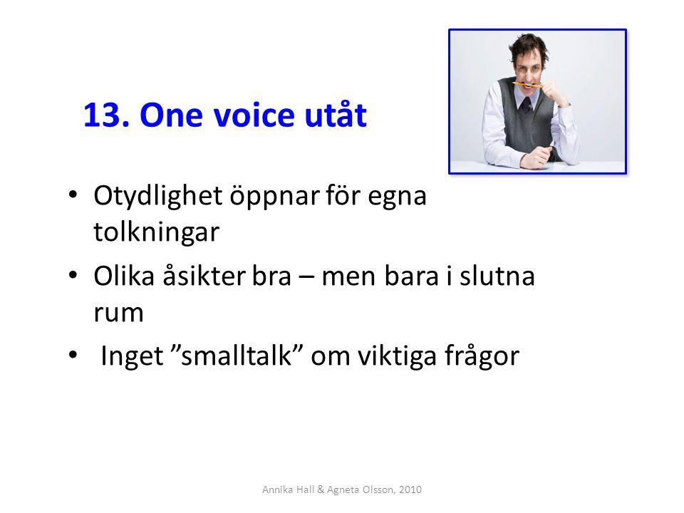 """13. One voice utåt Otydlighet öppnar för egna tolkningar Olika åsikter bra – men bara i slutna rum Inget """"smalltalk"""" om viktiga frågor Annika Hall & A"""