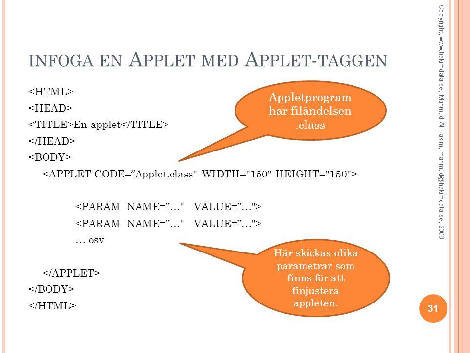 INFOGA EN A PPLET MED A PPLET - TAGGEN En applet … osv 31 Copyright, www.hakimdata.se, Mahmud Al Hakim, mahmud@hakimdata.se, 2008 Appletprogram har fi