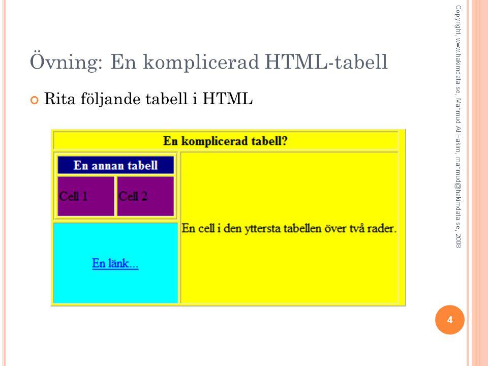 4 Övning: En komplicerad HTML-tabell Rita följande tabell i HTML Copyright, www.hakimdata.se, Mahmud Al Hakim, mahmud@hakimdata.se, 2008