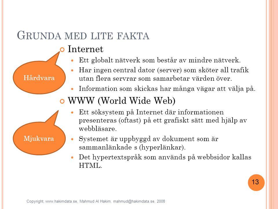 13 G RUNDA MED LITE FAKTA Internet Ett globalt nätverk som består av mindre nätverk.