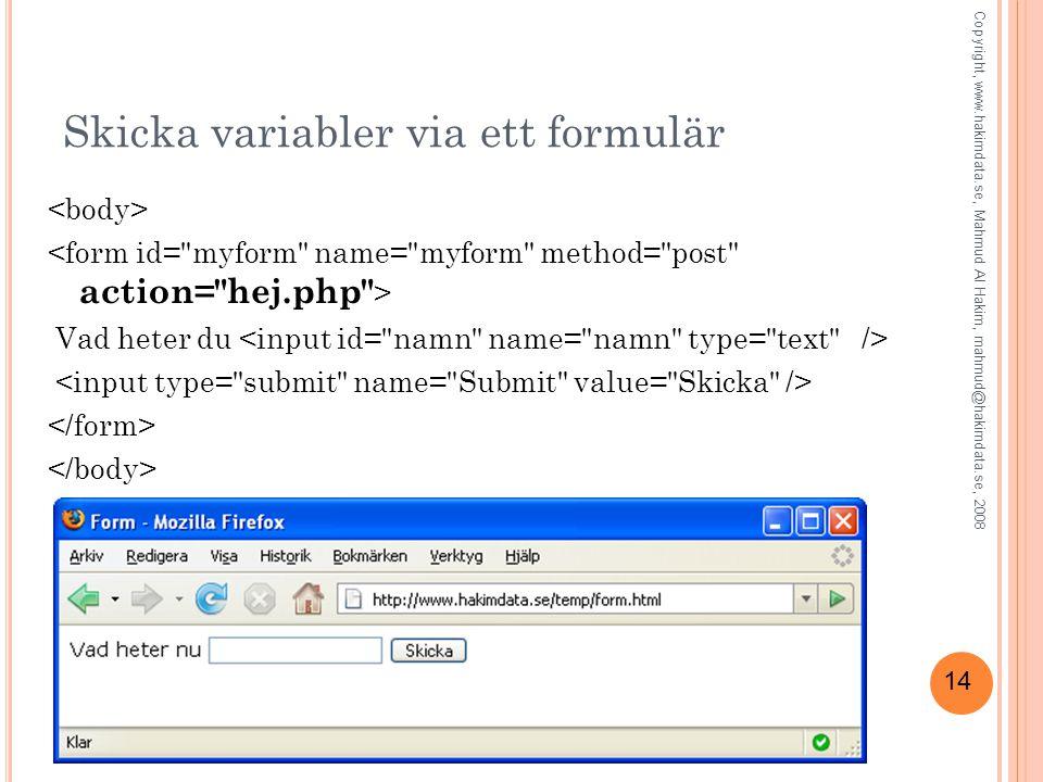 14 Skicka variabler via ett formulär Vad heter du Copyright, www.hakimdata.se, Mahmud Al Hakim, mahmud@hakimdata.se, 2008