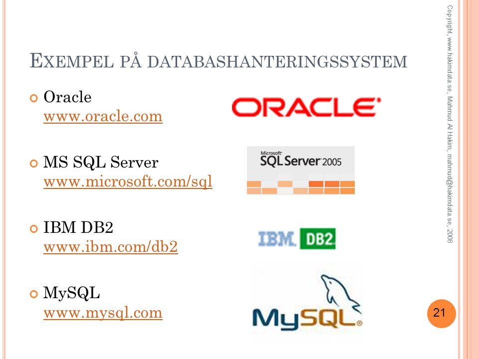 21 E XEMPEL PÅ DATABASHANTERINGSSYSTEM Oracle www.oracle.com www.oracle.com MS SQL Server www.microsoft.com/sql www.microsoft.com/sql IBM DB2 www.ibm.