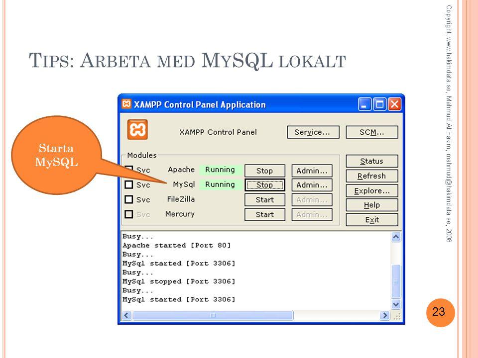 23 T IPS : A RBETA MED M Y SQL LOKALT Starta MySQL Copyright, www.hakimdata.se, Mahmud Al Hakim, mahmud@hakimdata.se, 2008