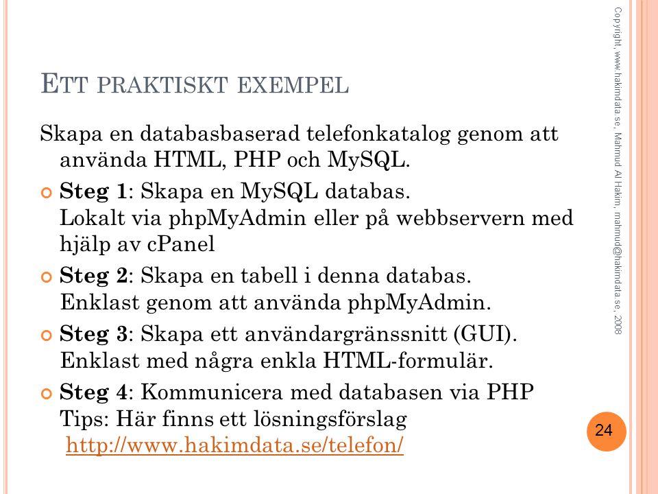 24 E TT PRAKTISKT EXEMPEL Skapa en databasbaserad telefonkatalog genom att använda HTML, PHP och MySQL. Steg 1 : Skapa en MySQL databas. Lokalt via ph