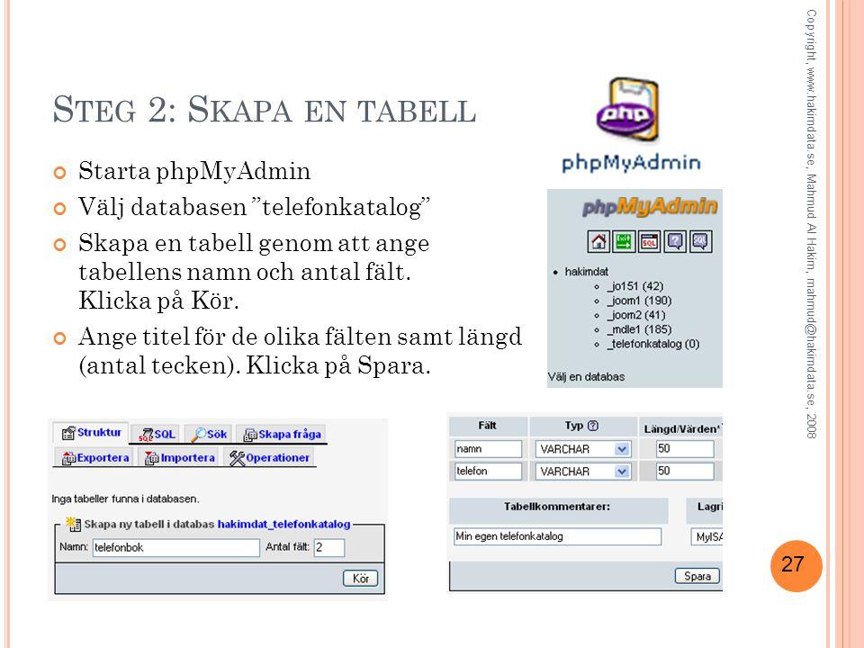 """27 S TEG 2: S KAPA EN TABELL Starta phpMyAdmin Välj databasen """"telefonkatalog"""" Skapa en tabell genom att ange tabellens namn och antal fält. Klicka på"""