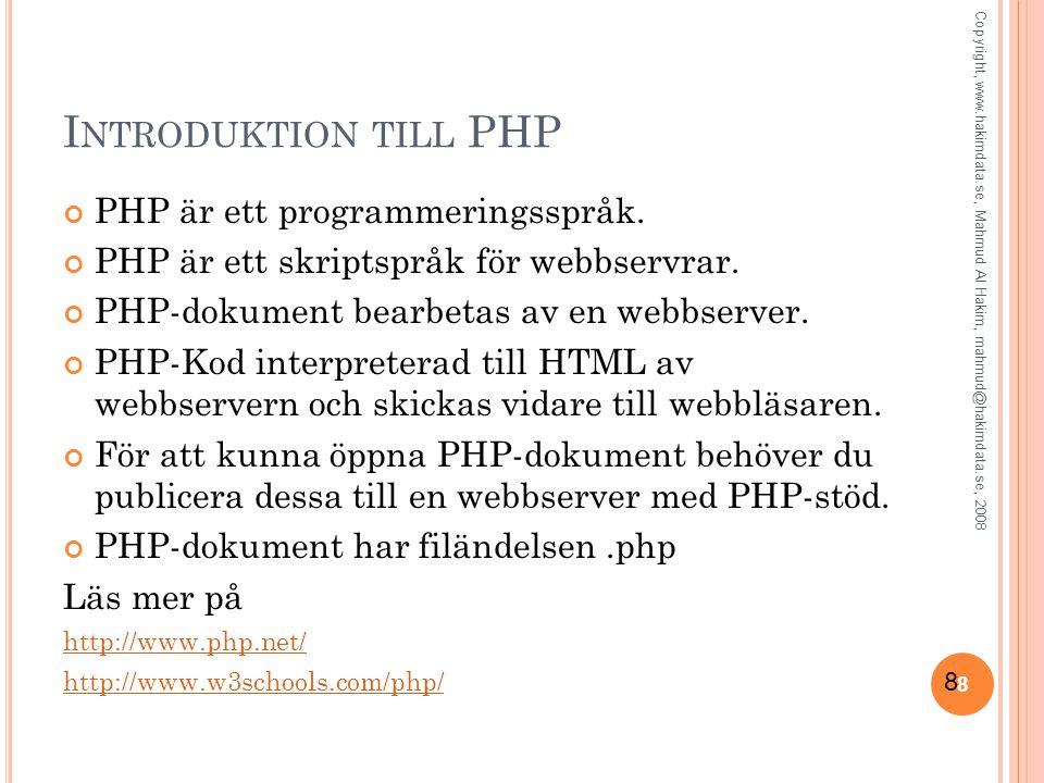 19 Skicka ett e-postformulär via PHP filen mail.php <?php // Hämta data från formuläret och spara i olika variabler $namn = $_REQUEST[ namn ]; $epost = $_REQUEST[ epost ]; $meddelande = $_REQUEST[ meddelande ]; // Några parametrar $till = mahmud@hakimdata.se ; $rubrik = Förfrågan från $namn ; $headers = From: $epost ; mail($till, $rubrik, $meddelande, $headers); echo Meddelandet har skickats ; ?> Copyright, www.hakimdata.se, Mahmud Al Hakim, mahmud@hakimdata.se, 2008