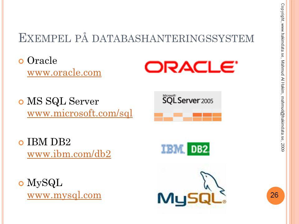 26 E XEMPEL PÅ DATABASHANTERINGSSYSTEM Oracle www.oracle.com www.oracle.com MS SQL Server www.microsoft.com/sql www.microsoft.com/sql IBM DB2 www.ibm.