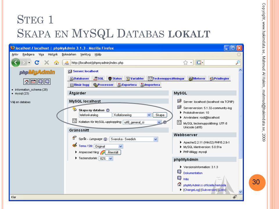 30 S TEG 1 S KAPA EN M Y SQL D ATABAS LOKALT Copyright, www.hakimdata.se, Mahmud Al Hakim, mahmud@hakimdata.se, 2009