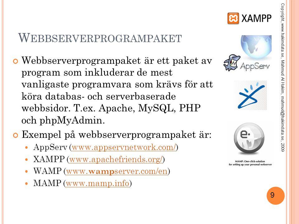 10 L ADDA NER OCH INSTALLERA XAMPP Gå till http://www.apachefriends.org/ http://www.apachefriends.org/ Klicka på XAMPP XAMPP finns för många olika operativsystem.