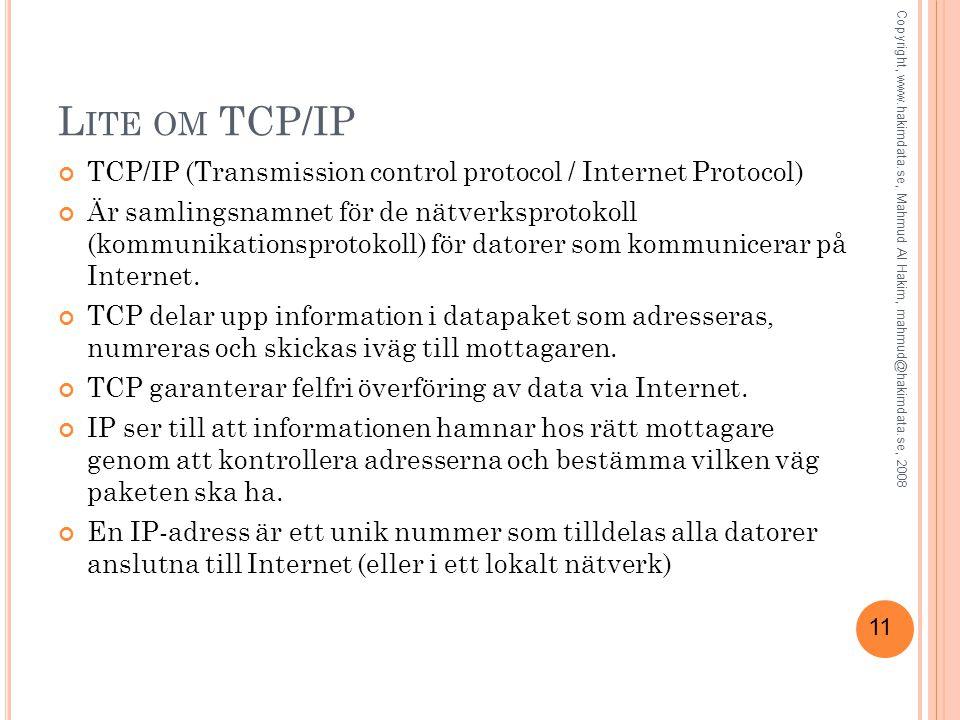 11 L ITE OM TCP/IP TCP/IP (Transmission control protocol / Internet Protocol) Är samlingsnamnet för de nätverksprotokoll (kommunikationsprotokoll) för
