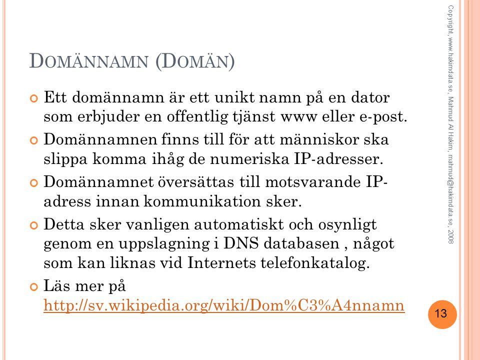 13 D OMÄNNAMN (D OMÄN ) Ett domännamn är ett unikt namn på en dator som erbjuder en offentlig tjänst www eller e-post. Domännamnen finns till för att