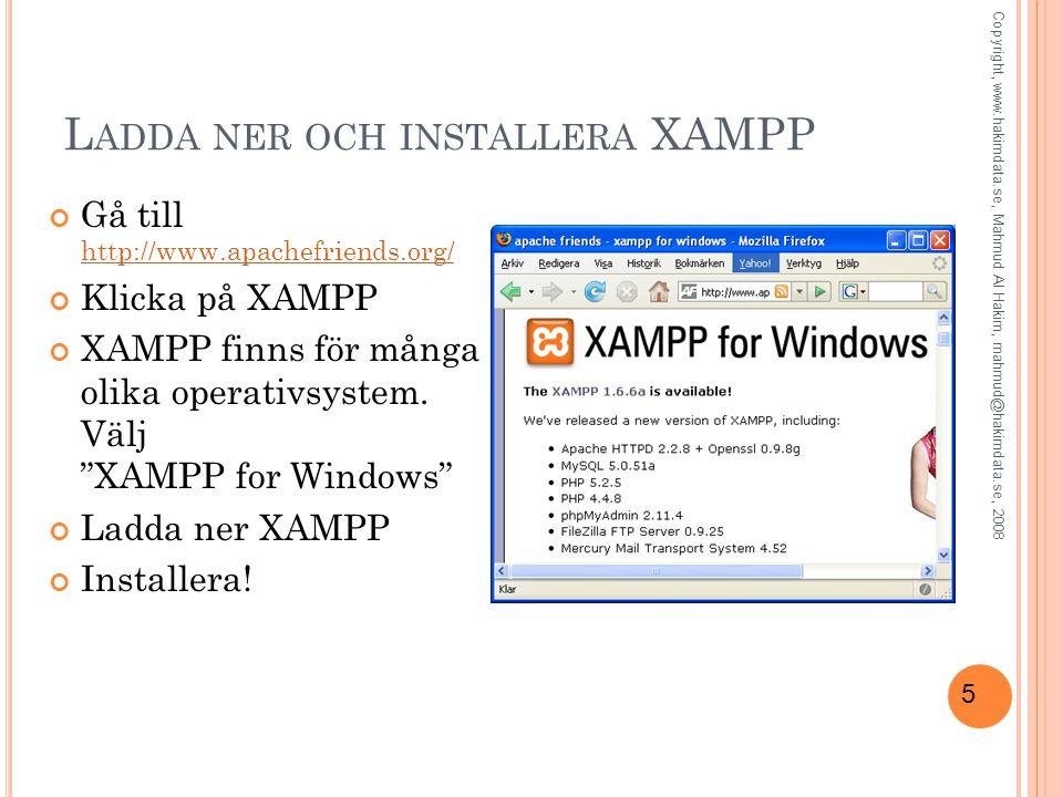 6 XAMPP K ONTROLLPANEL Starta Apache Copyright, www.hakimdata.se, Mahmud Al Hakim, mahmud@hakimdata.se, 2008