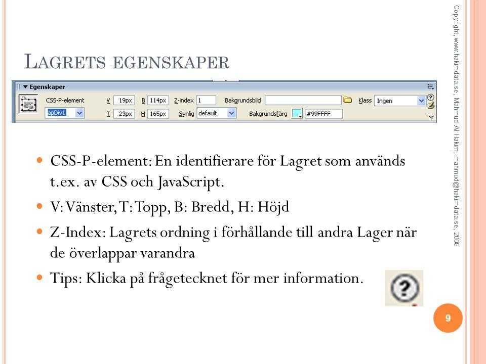 L AGRETS EGENSKAPER CSS-P-element: En identifierare för Lagret som används t.ex. av CSS och JavaScript. V: Vänster, T: Topp, B: Bredd, H: Höjd Z-Index