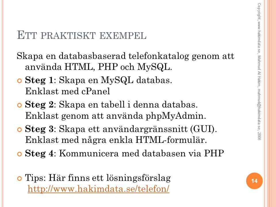E TT PRAKTISKT EXEMPEL Skapa en databasbaserad telefonkatalog genom att använda HTML, PHP och MySQL.