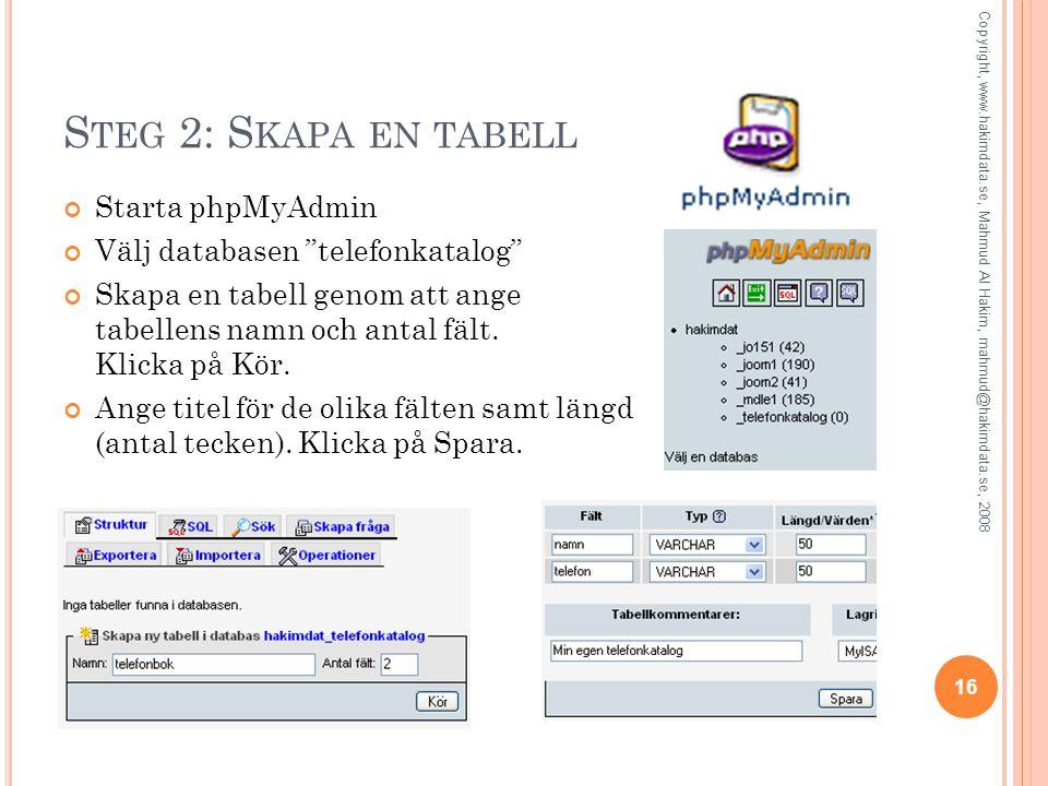 S TEG 2: S KAPA EN TABELL Starta phpMyAdmin Välj databasen telefonkatalog Skapa en tabell genom att ange tabellens namn och antal fält.