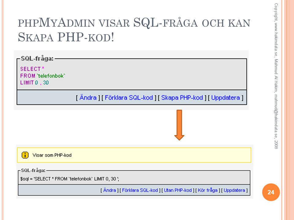 PHP M Y A DMIN VISAR SQL- FRÅGA OCH KAN S KAPA PHP- KOD ! 24 Copyright, www.hakimdata.se, Mahmud Al Hakim, mahmud@hakimdata.se, 2008
