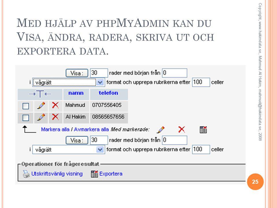 M ED HJÄLP AV PHP M Y A DMIN KAN DU V ISA, ÄNDRA, RADERA, SKRIVA UT OCH EXPORTERA DATA.