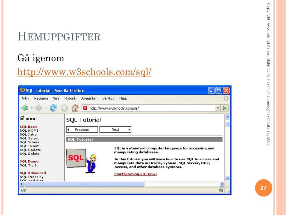 H EMUPPGIFTER Gå igenom http://www.w3schools.com/sql/ 27 Copyright, www.hakimdata.se, Mahmud Al Hakim, mahmud@hakimdata.se, 2008