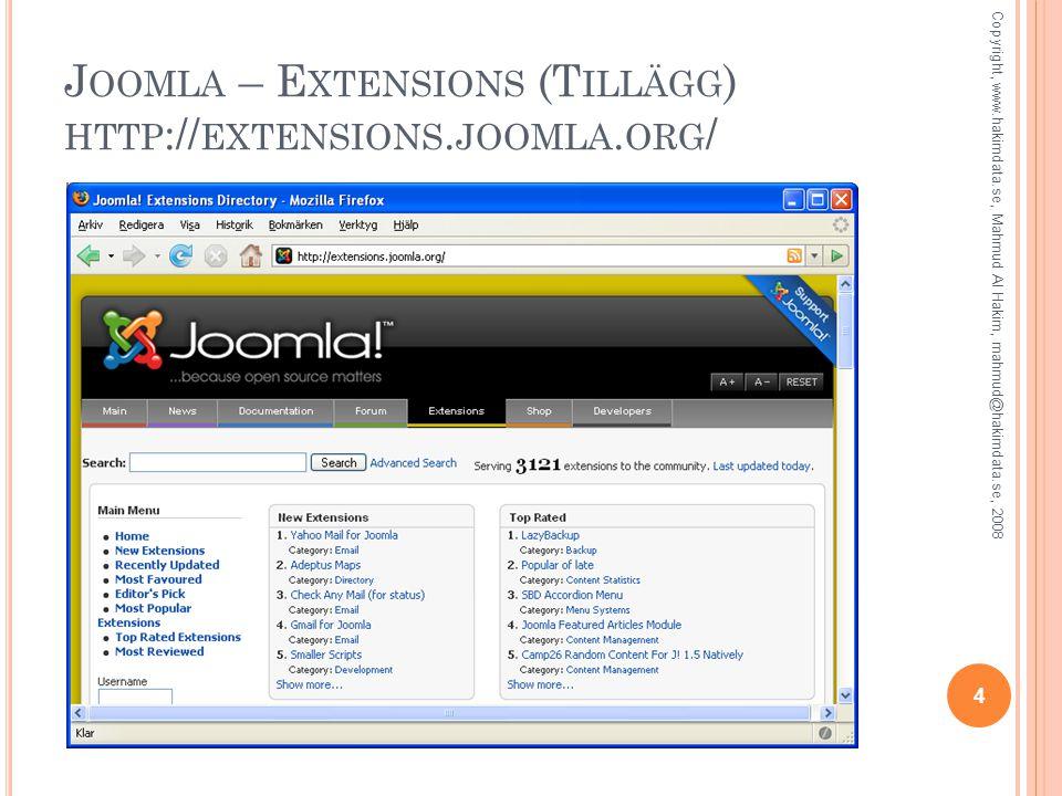 J OOMLA – E XTENSIONS (T ILLÄGG ) HTTP :// EXTENSIONS.