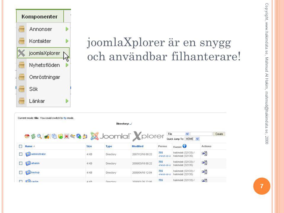 joomlaXplorer är en snygg och användbar filhanterare.