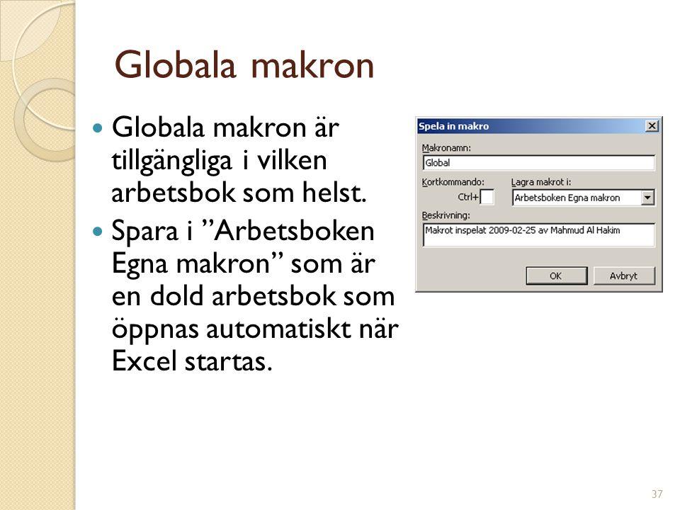 """37 Globala makron Globala makron är tillgängliga i vilken arbetsbok som helst. Spara i """"Arbetsboken Egna makron"""" som är en dold arbetsbok som öppnas a"""