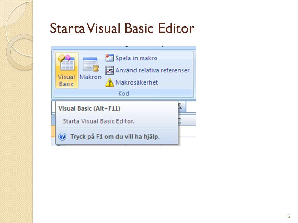 42 Starta Visual Basic Editor