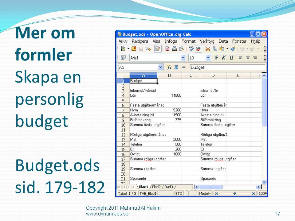 Mer om formler Skapa en personlig budget Budget.ods sid.