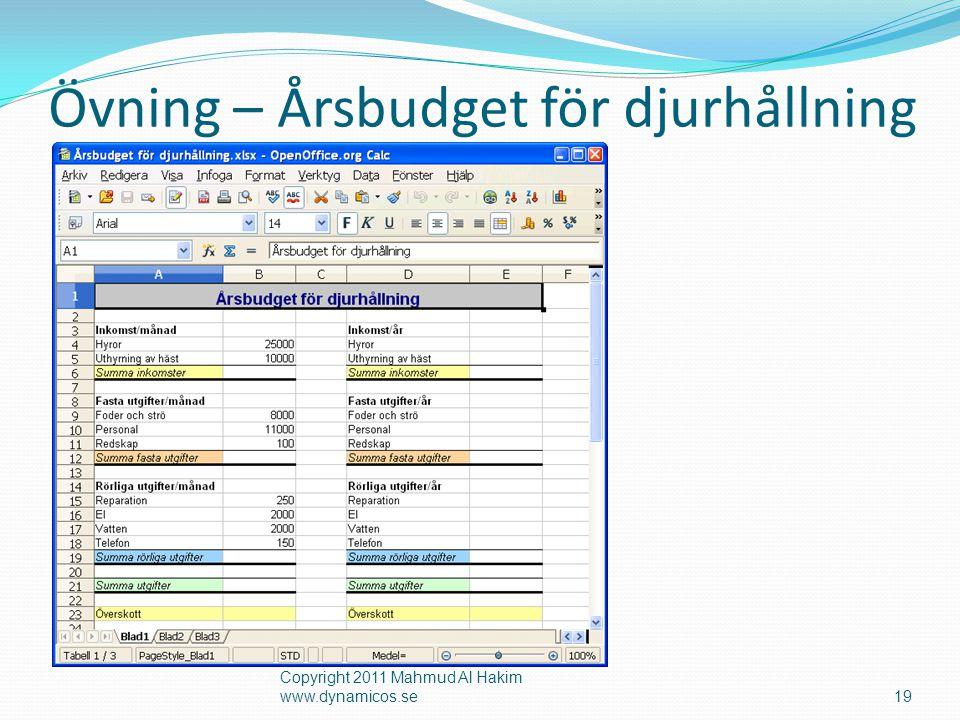 Övning – Årsbudget för djurhållning Copyright 2011 Mahmud Al Hakim www.dynamicos.se19