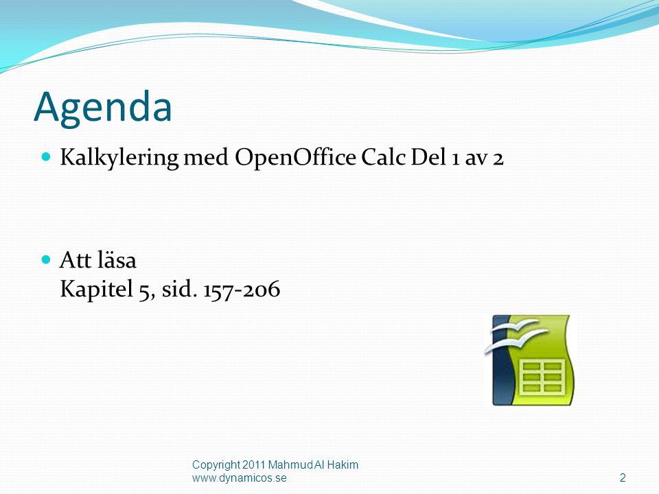 Agenda Kalkylering med OpenOffice Calc Del 1 av 2 Att läsa Kapitel 5, sid.