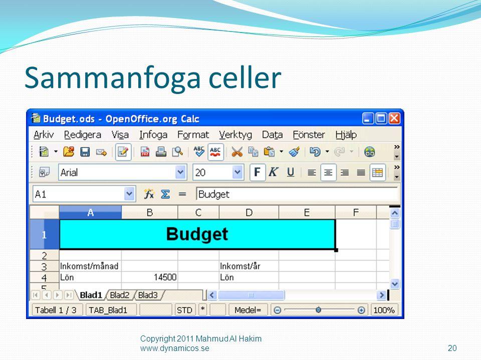 Sammanfoga celler Copyright 2011 Mahmud Al Hakim www.dynamicos.se20