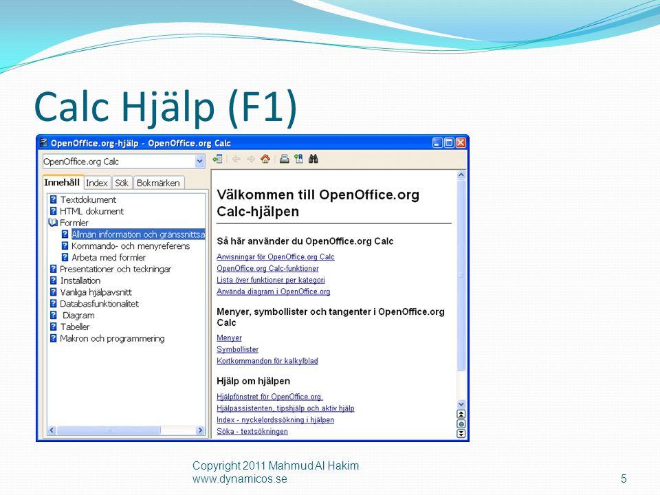 Calc Hjälp (F1) Copyright 2011 Mahmud Al Hakim www.dynamicos.se5