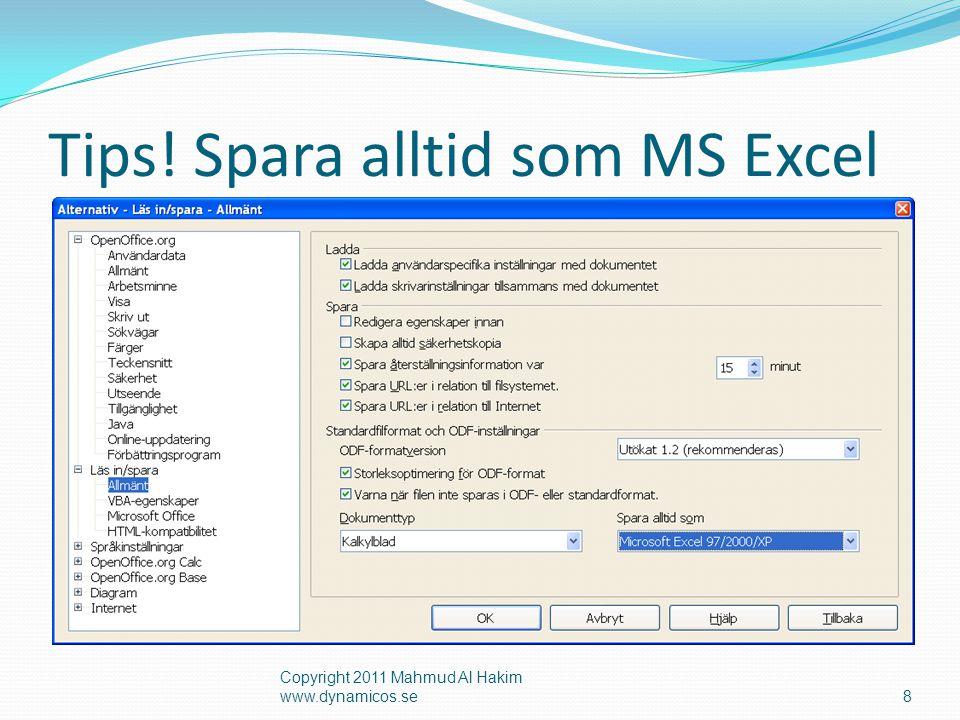 Tips! Spara alltid som MS Excel Copyright 2011 Mahmud Al Hakim www.dynamicos.se8