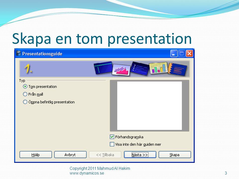 Skapa en tom presentation Copyright 2011 Mahmud Al Hakim www.dynamicos.se3
