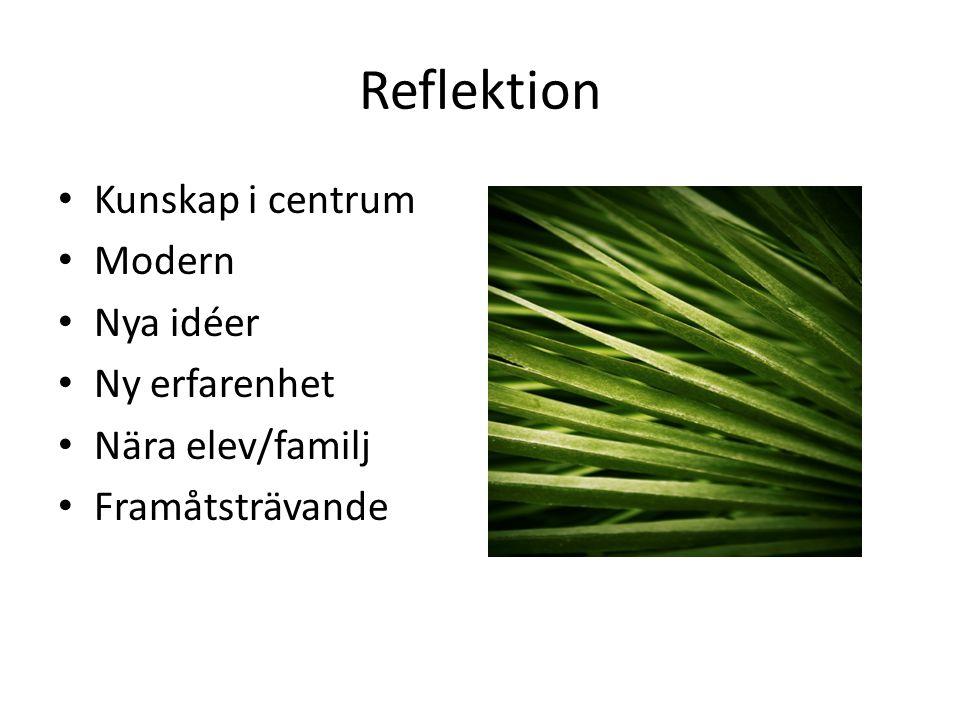 Reflektion Kunskap i centrum Modern Nya idéer Ny erfarenhet Nära elev/familj Framåtsträvande