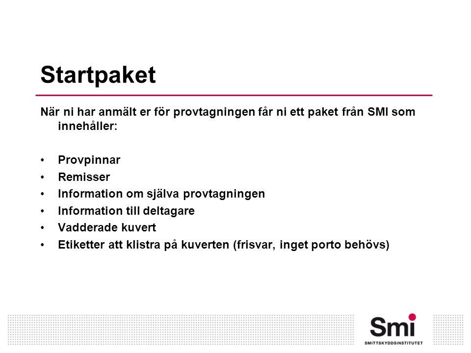 Startpaket När ni har anmält er för provtagningen får ni ett paket från SMI som innehåller: Provpinnar Remisser Information om själva provtagningen Information till deltagare Vadderade kuvert Etiketter att klistra på kuverten (frisvar, inget porto behövs)