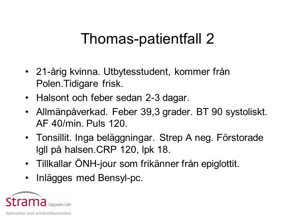 Thomas-patientfall 2 21-årig kvinna. Utbytesstudent, kommer från Polen.Tidigare frisk. Halsont och feber sedan 2-3 dagar. Allmänpåverkad. Feber 39,3 g