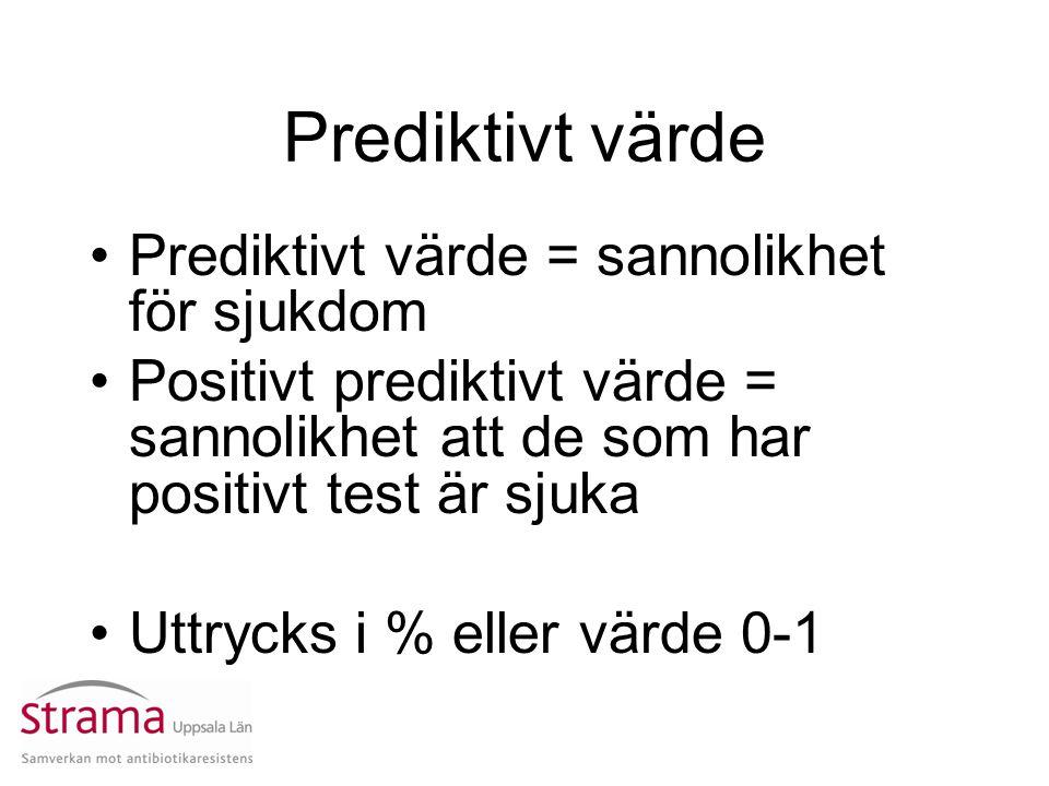 Prediktivt värde Prediktivt värde = sannolikhet för sjukdom Positivt prediktivt värde = sannolikhet att de som har positivt test är sjuka Uttrycks i %