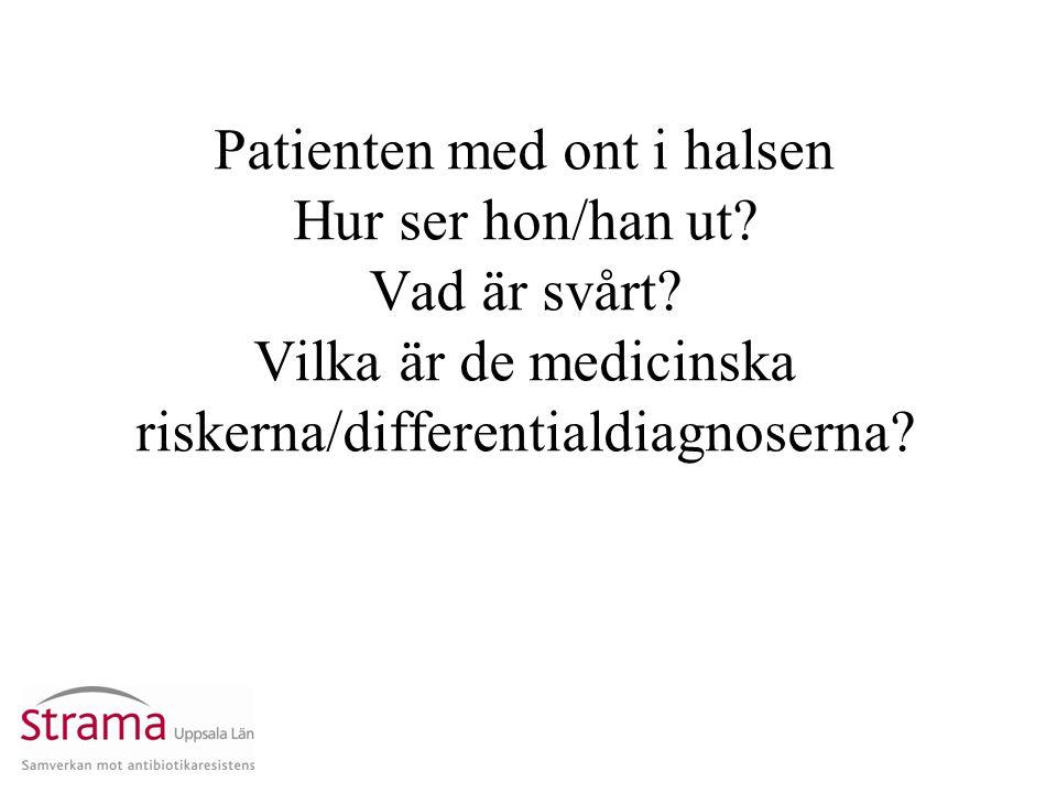Patienten med ont i halsen Hur ser hon/han ut? Vad är svårt? Vilka är de medicinska riskerna/differentialdiagnoserna?