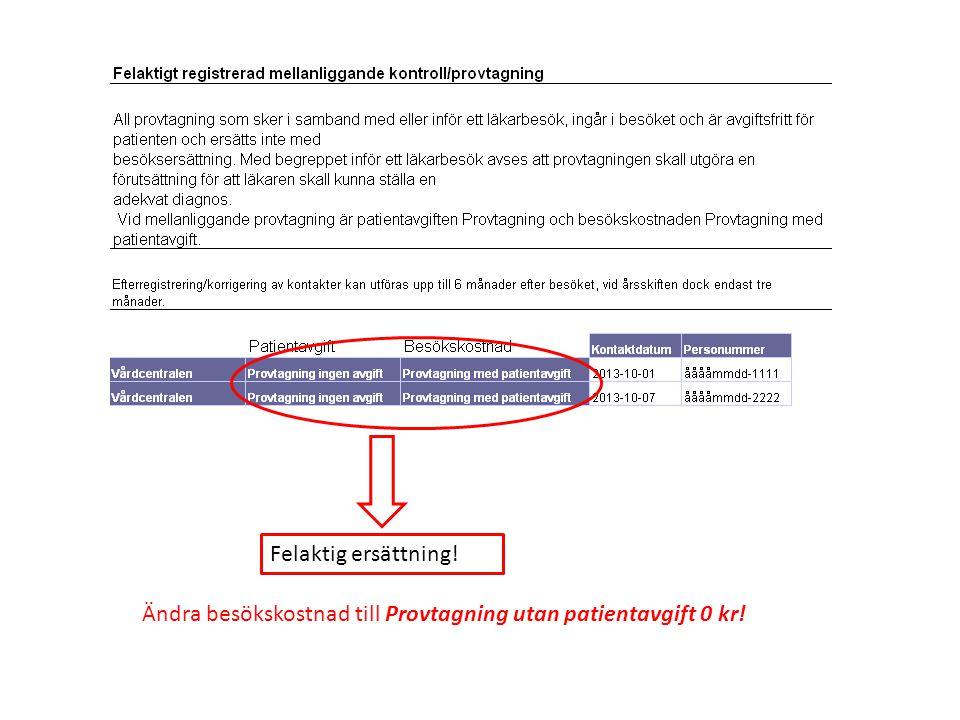 Felaktig ersättning! Ändra besökskostnad till Provtagning utan patientavgift 0 kr!