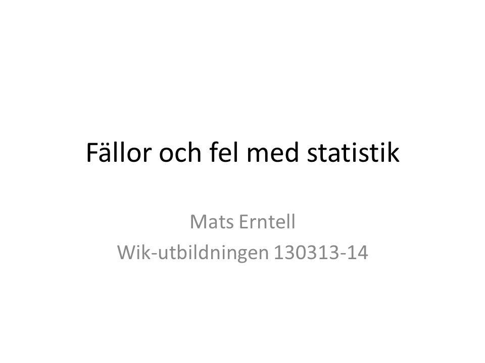 Fällor och fel med statistik Mats Erntell Wik-utbildningen 130313-14