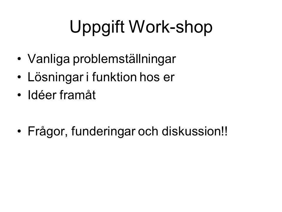 Uppgift Work-shop Vanliga problemställningar Lösningar i funktion hos er Idéer framåt Frågor, funderingar och diskussion!!