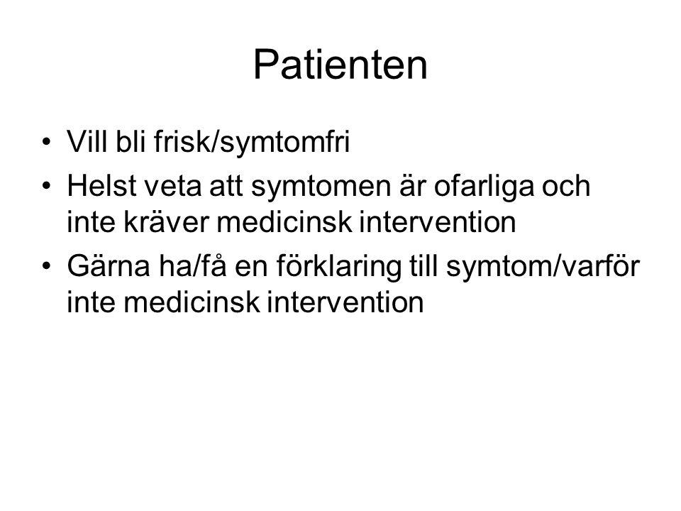 Patienten Vill bli frisk/symtomfri Helst veta att symtomen är ofarliga och inte kräver medicinsk intervention Gärna ha/få en förklaring till symtom/varför inte medicinsk intervention