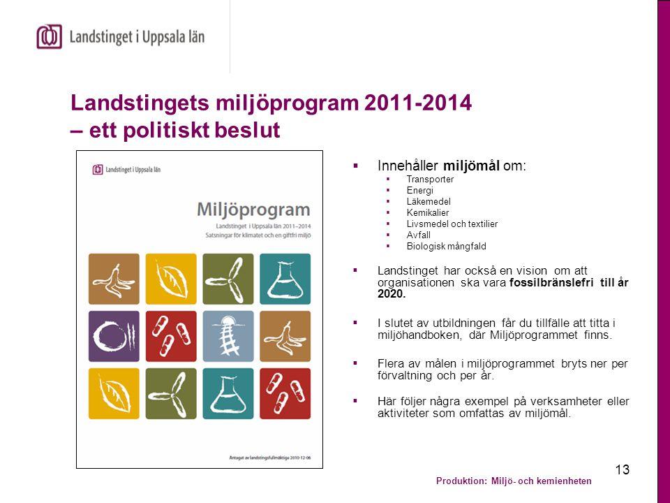 Produktion: Miljö- och kemienheten 13 Landstingets miljöprogram 2011-2014 – ett politiskt beslut  Innehåller miljömål om:  Transporter  Energi  Lä