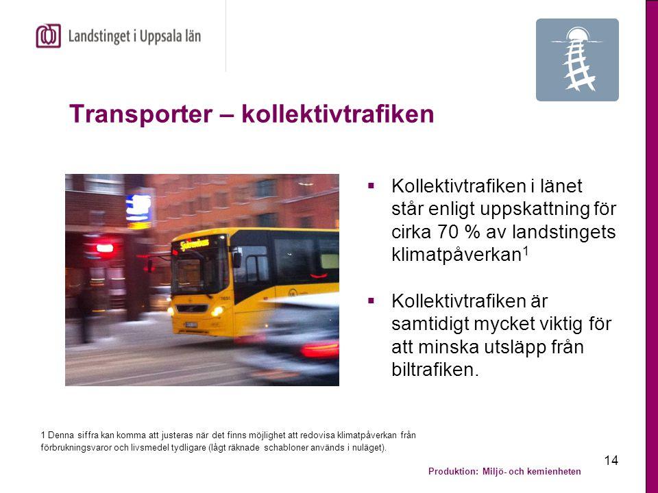 Produktion: Miljö- och kemienheten 15 Transporter – kollektivtrafiken  Några av kollektivtrafikförvaltningens miljömål för 2013 är att:  15 % av UL:s kilometerproduktion för busstrafiken ska utföras med icke-fossila bränslen.