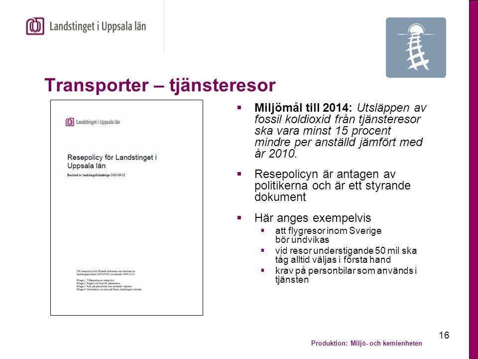 Produktion: Miljö- och kemienheten 16 Transporter – tjänsteresor  Miljömål till 2014: Utsläppen av fossil koldioxid från tjänsteresor ska vara minst