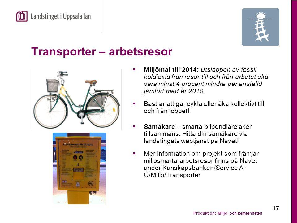Produktion: Miljö- och kemienheten 17 Transporter – arbetsresor  Miljömål till 2014: Utsläppen av fossil koldioxid från resor till och från arbetet s