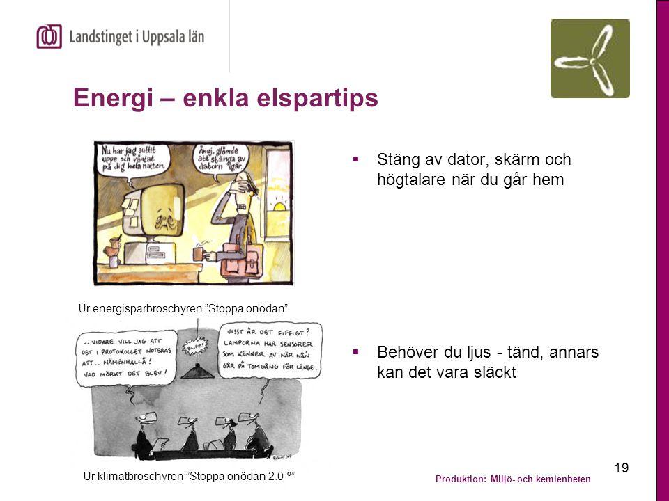 """Produktion: Miljö- och kemienheten 19 Energi – enkla elspartips  Stäng av dator, skärm och högtalare när du går hem Ur energisparbroschyren """"Stoppa o"""