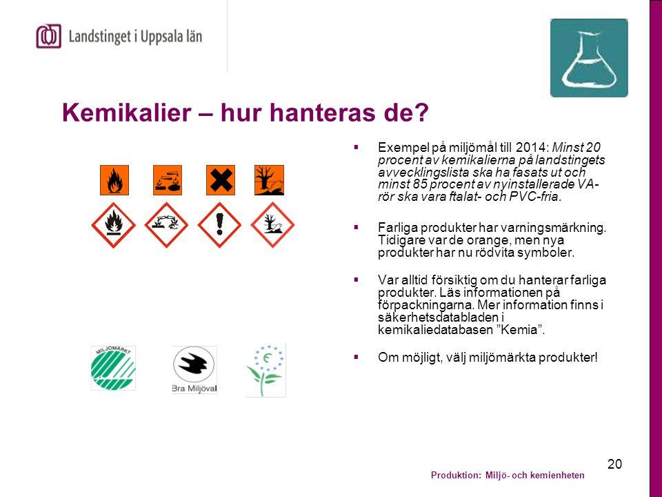 Produktion: Miljö- och kemienheten 20 Kemikalier – hur hanteras de?  Exempel på miljömål till 2014: Minst 20 procent av kemikalierna på landstingets