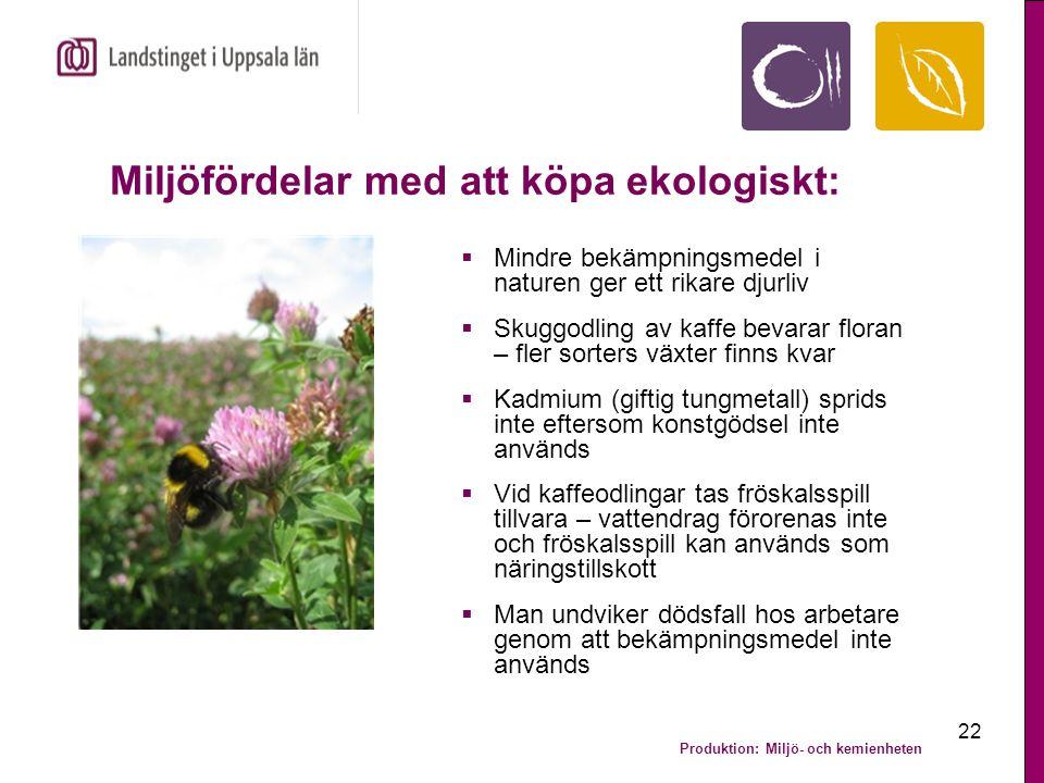 Produktion: Miljö- och kemienheten 22 Miljöfördelar med att köpa ekologiskt:  Mindre bekämpningsmedel i naturen ger ett rikare djurliv  Skuggodling